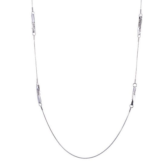 D&X Silver and Crystal Necklace
