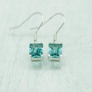 Siberian Aquamarine Quartz Emerald Cut Drops set in 925 Silver