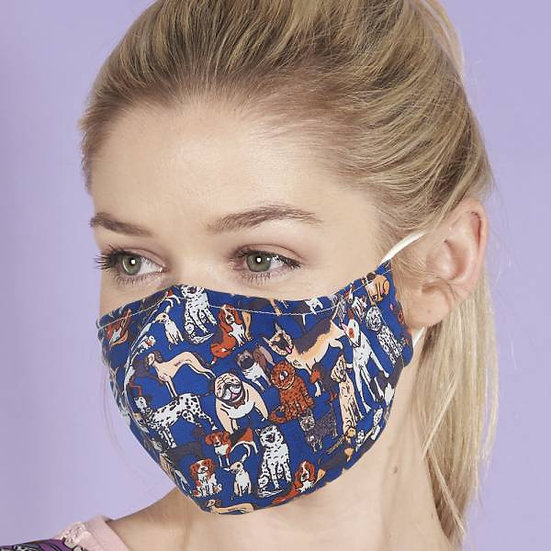 Face Mask  Blue Dogs