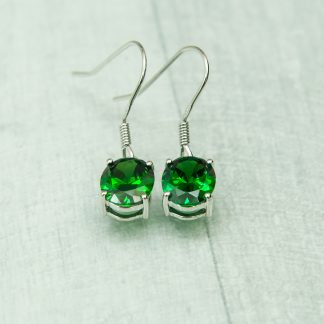Siberian Emerald Quartz Round Drops set in 925 Silver