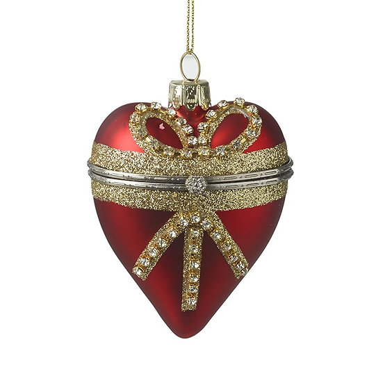 RED AND GOLD HEART CASKET BAUBLENG ANGEL WITH SKIRT