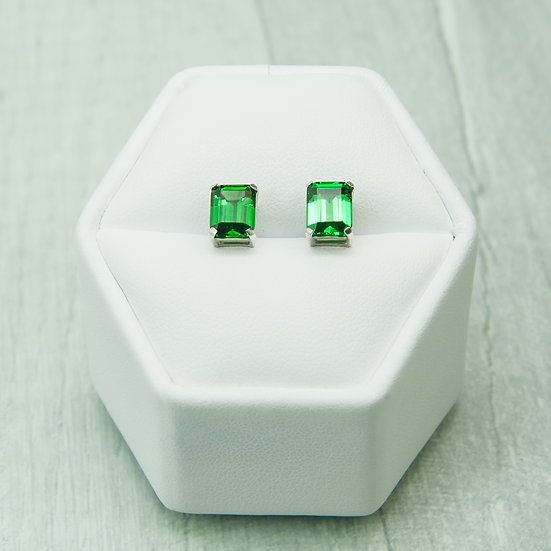 Siberian Emerald Quartz Emerald Cut Studs set in 925 Silver