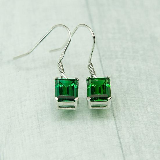 Siberian Emerald Quartz Emerald Cut Drops set in 925 Silver