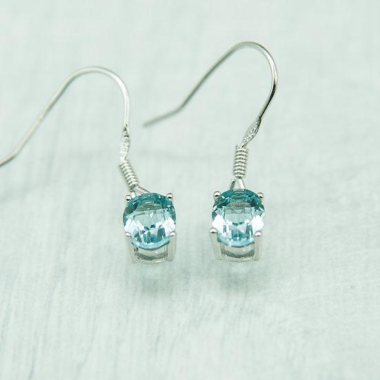 Siberian Aquamarine Quartz Oval Drops set in 925 Silver
