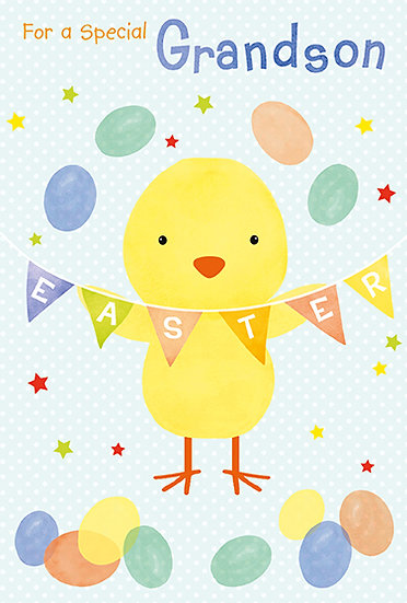 Grandson Chick and Bunting Card