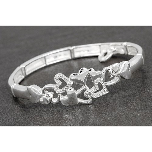 Equilibrium Falling Hearts Bangle Silver and Rose Gold Plated