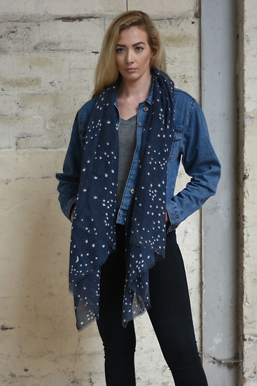 A Navy Blue Scarf With A Gold Small Moon and Stars Print