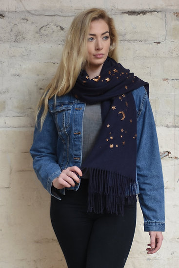 Navy Blue And Rose Gold Celestial Print Blanket Scarf