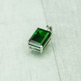 Siberian Emerald Quartz Emerald Cut Pendent set in 925 Silver