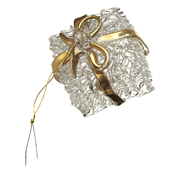 LARGE GOLD RIBBON PRESENT GLASS BAUBLE