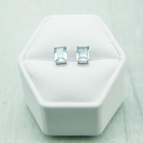 Siberian Aquamarine Quartz Emerald Cut Studs set in 925 Silver