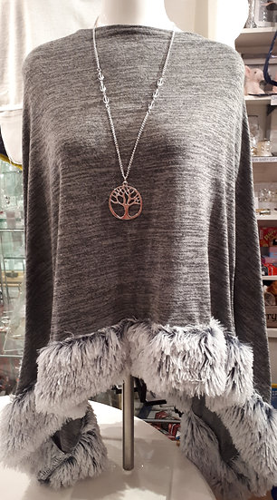 Grey Faux Fur Trimmed Poncho