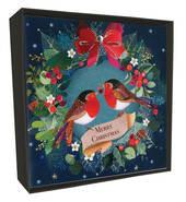 Luxury Christmas Card Box - Robins in Wreath