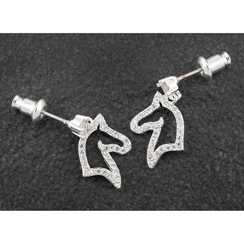 Equilibrium Horse Head Earrings with CZ