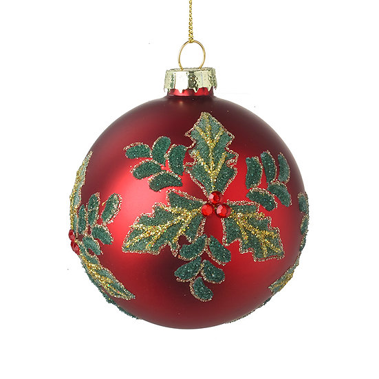 RED GLASS BAUBLE WITH HOLLY DESIGN