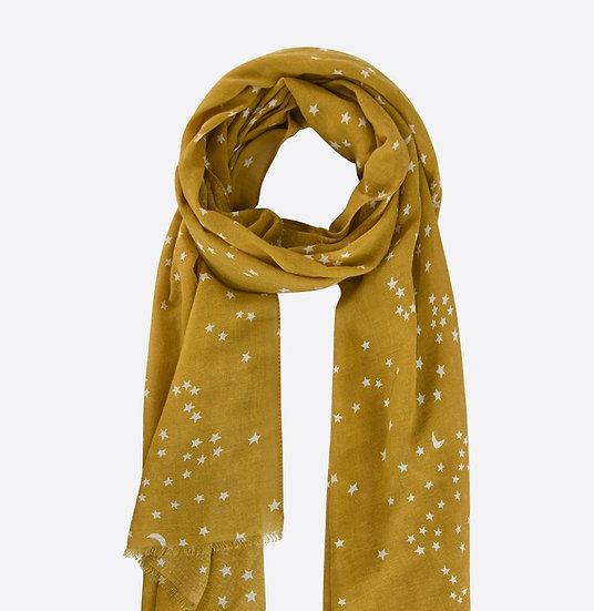 Mustard Scarf with Silver Moons and Stars