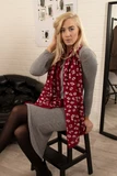 RedPleated Scarf With A Silver Metallic Animal Print