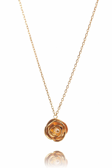 Gold Vermeil Peony Pendant with Pearl