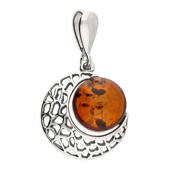 925 Silver Cognac Amber Pendant with Crescent Moon Surround