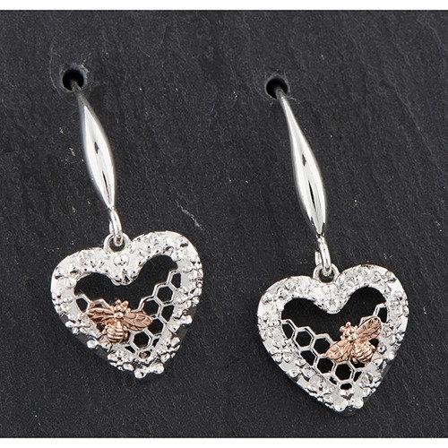 Equlibrium Honeycomb Heart Earrings with Bee
