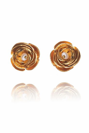 Gold Vermeil Peony Studs with Pearl