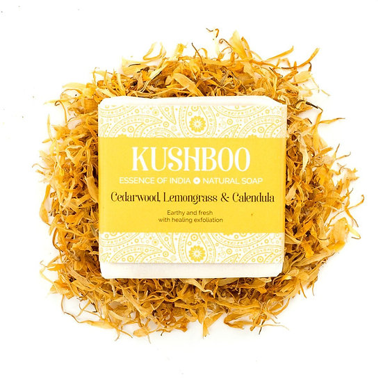 Kushboo Cedarwood, Lemongrass & Calendula Soap