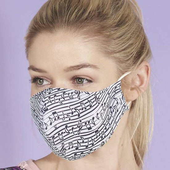 Face Mask White Music Notes