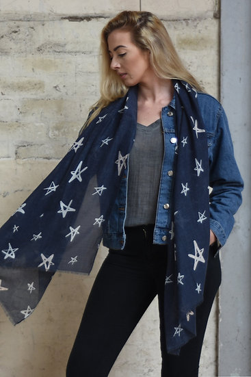 Navy Blue with Rose Gold Stars Scarf
