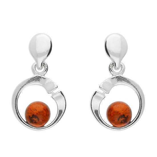 925 Silver Cognac Amber Studs Set in Hoop