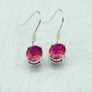 Siberian Ruby Quartz Round Drops set in 925 Silver