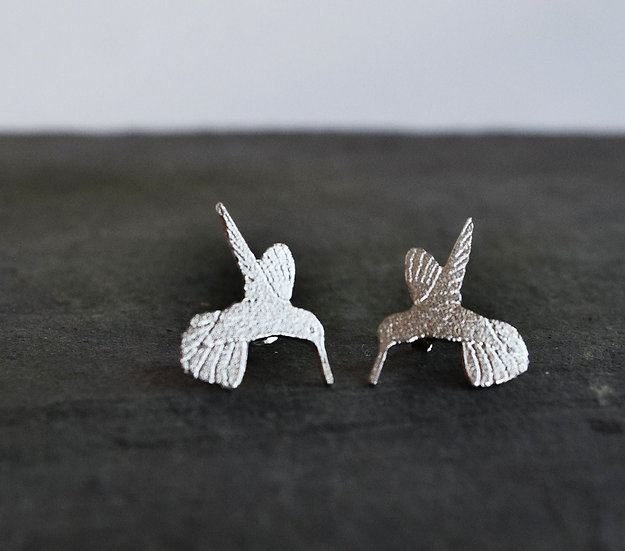 Silver Humming Bird Studs