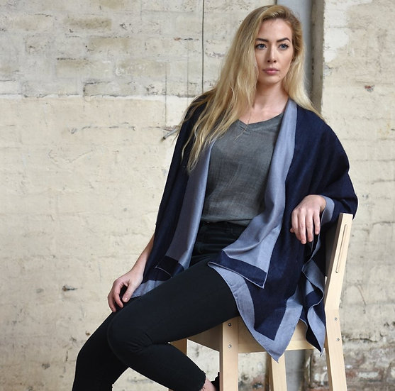 Reversible Cape - Dark and Light Blue