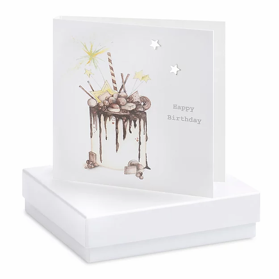 Boxed  Chocolate Cake Earring Card Stars