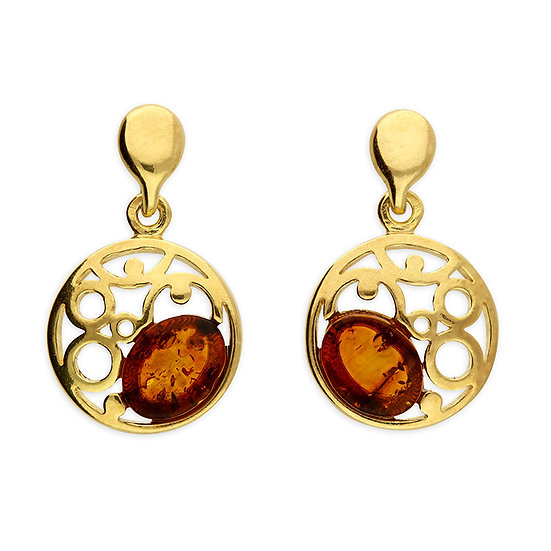 Gold Plated on 925 Silver Cognac Amber Studs with Crescent Surround