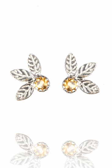 Silver Triple Leaf Studs with Citrine