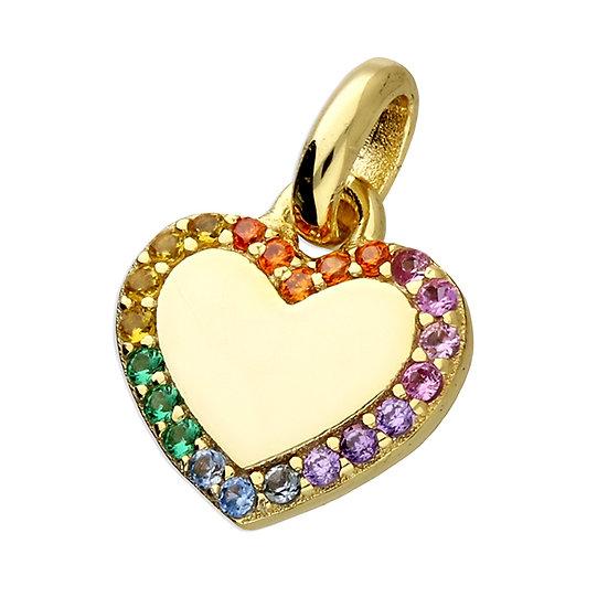 Gold Plated 925 Silver Rainbow CZ Heart Tiny Pendant