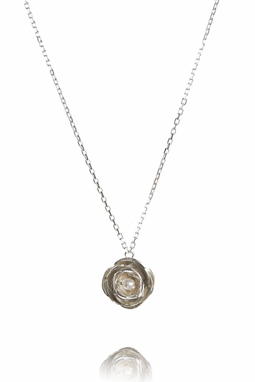 Silver Peony Pendant with Pearl