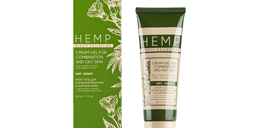 CREAM GEL FOR COMBINED AND OILY SKIN WITH HEMP EXTRACT AND AZELAIC ACID