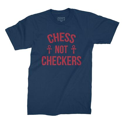 CHESS NOT CHECKERS TEE (NAVY)