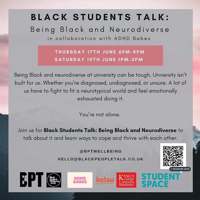 Black Students Talk: Being Black and neurodiverse (SESSION A)