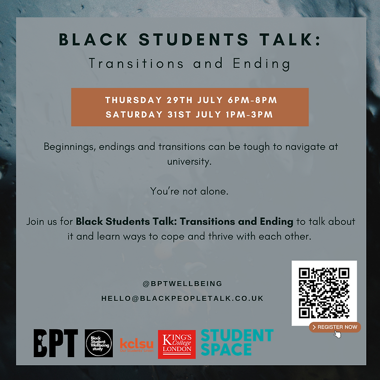 Black Students Talk: Transitions and ending (SESSION A)