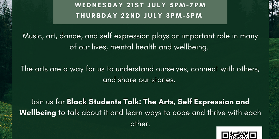 Black Students Talk: The arts, self expression and wellbeing (SESSION B)
