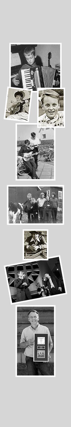 """Bilder som visar Roland Utbult genom åren. Intresserad av musik redan som barn. Första bandet: True Gospel Creation. Duett med Tomas Ledin. Platinaskiva för """"Längtan till havet""""."""