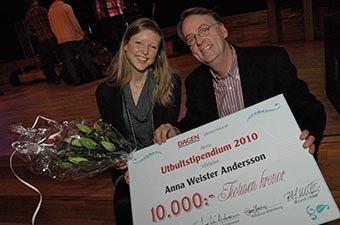 Roland Utbult tillsammans med Anna Weister Andersson – 2010 års utbultstipendiat.
