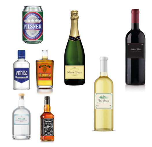 Assorted alcohol labels