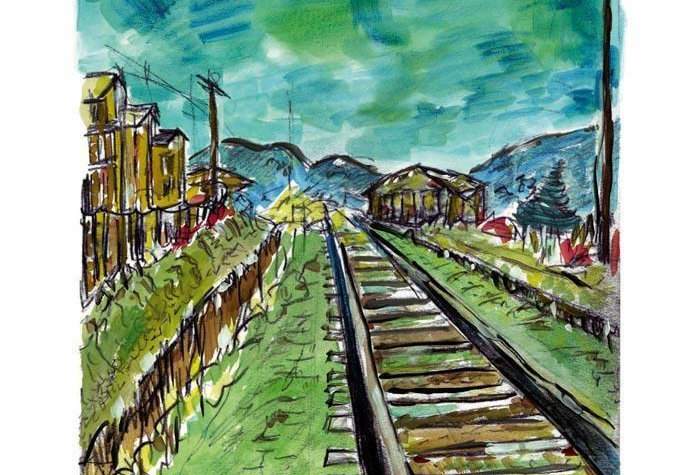 Hand Signed Bob Dylan Drawn Blank Series 'Train Tracks' 2008
