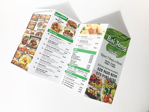 A4 Ext Menu Printing in UK