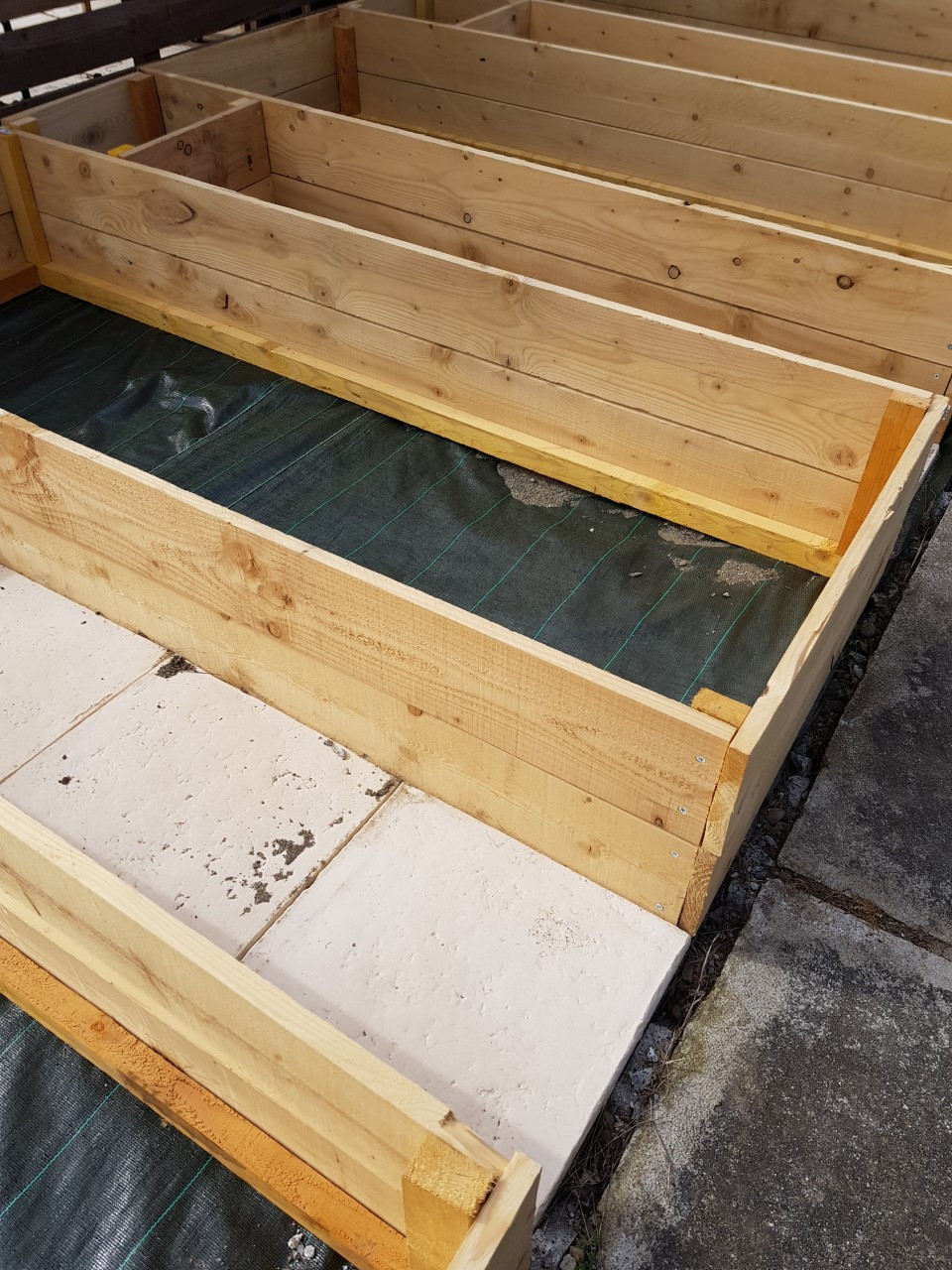 Wooden raised beds for vegetables
