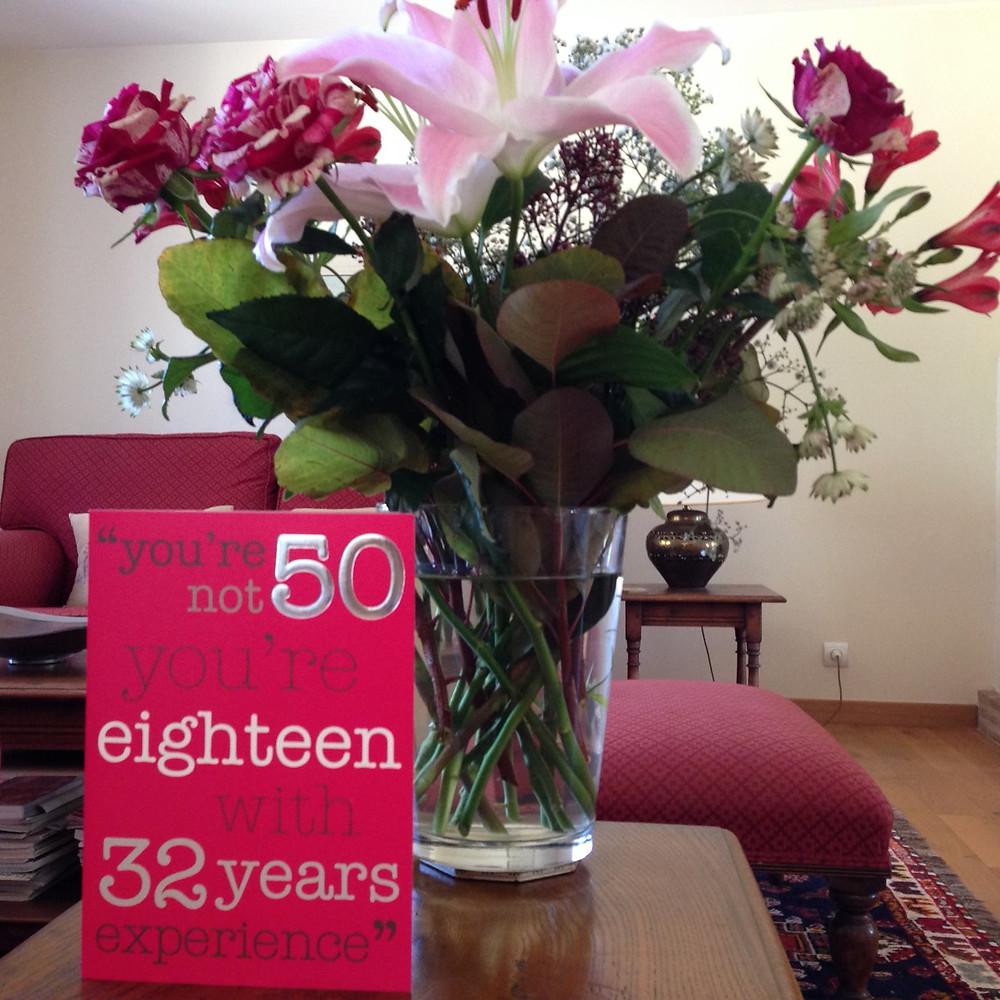 flowers in vase birthday card