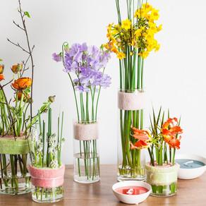 Modern arrangement with spring flowers